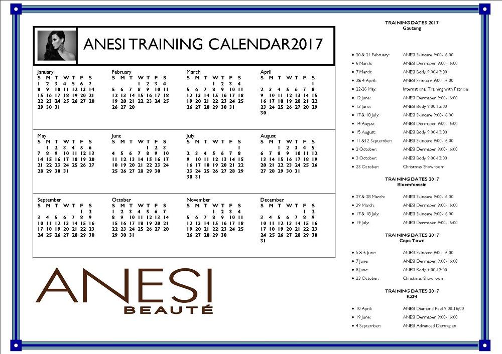 Training Dates 2017 ANESI