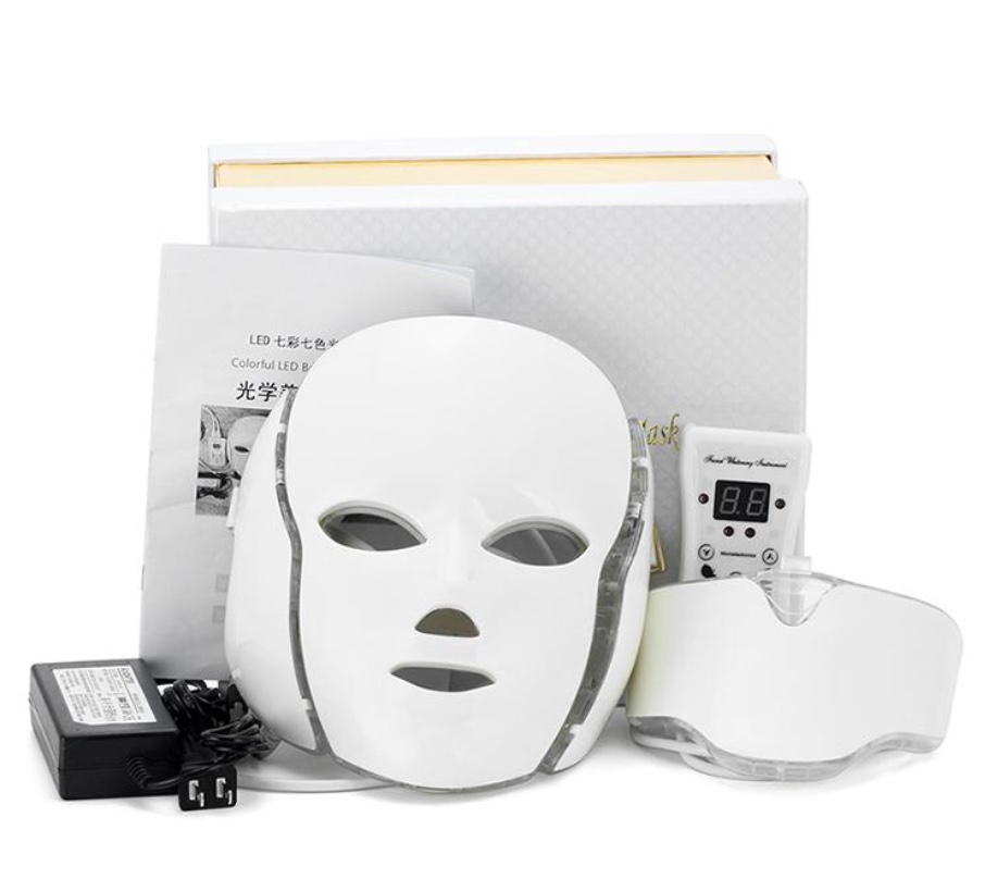 Led Light Therapy Mask With Neck Mask Piece Derma Roller