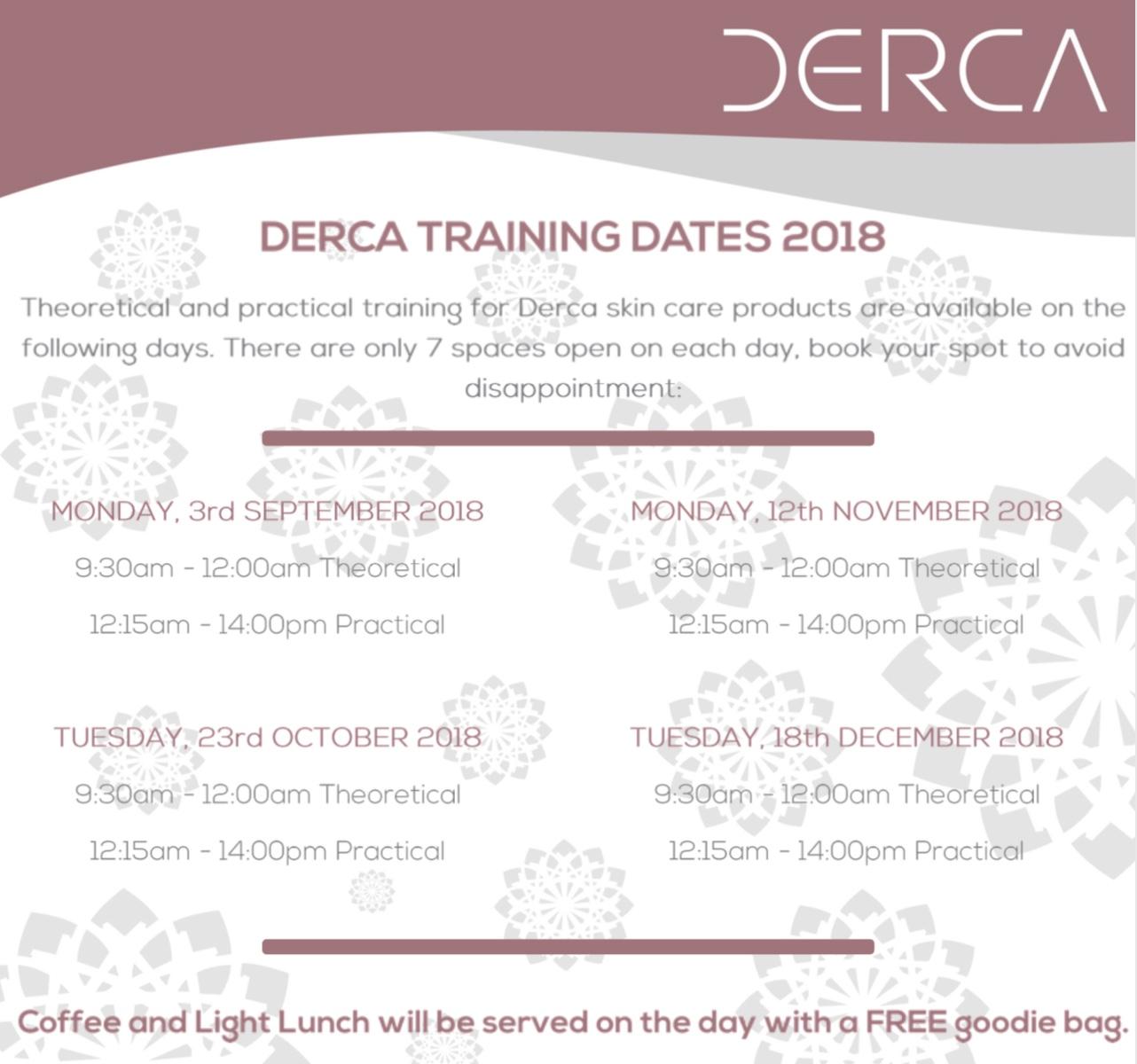 Derca Training Dates 2018